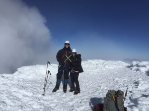 Cotopaxi Summit - sulphur cloud in background