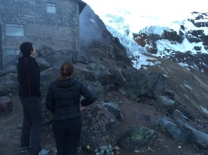 Checking out this route from outside the hut at Cayambe